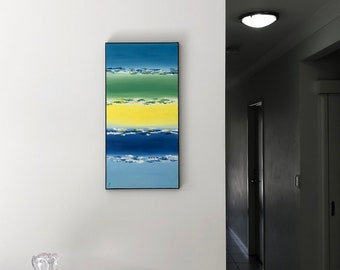 Blended Cerulean - Original Abstract Oil Painting (30x60cm)