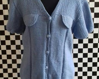 Short sleeved chunky blue cardigan - M/L