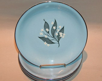 8584: Homer Laughlin Stardust Blue SET 4 Bread Plates Farmhouse Mid Century Vintage China at Vintageway Furniture
