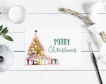 "Merry Christmas Card Set - Alpha Kappa Alpha Sorority-inspired, 7x5"" Flat Cards"