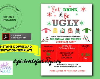 Christmas Invitation Template DIY Editable PDF Printable - Ugly sweater christmas party invitations template
