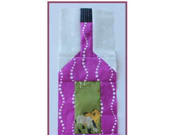 "Wine Bottle Block PDF Quilt Block Pattern 4"" x 12"" finished, traditionally pieced, includes step by step graphics and written instructions"