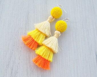 Ombre Yellow Orange Three Layered Tassel Earrings - Lightweight Dangle long tassle earrings - Tiered Summer Party Fringe Tassel Earrings