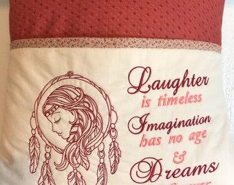 Pillow, Young Girl's Pillow, Dream Catcher Pillow, Reading, Throw Pillow, Teenager, Indian, Native American, Feathers, Journaling,  BOHO