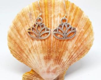 Lotus Flower Silver Earrings