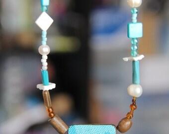Aqua blue shell reversible wooden necklace