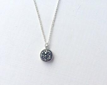 Gunmetal Grey Faux Druzy Necklace