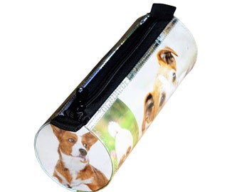 Tube pencil case gift for dog lovers, Pencil pouch, pencil holder bag, crayon case, Canine bag, zipper pencil case, Upcycled recycled
