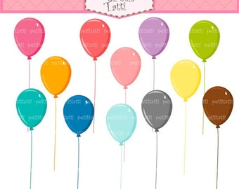 ON SALE balloons clip art - Digital clip art , pink, blue, green, yellow, teal, balloon clipart , instant download