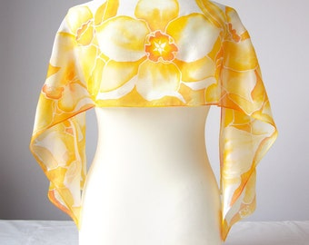 Silk scarf Daffodils - light yellow scarf - Daffodils scarf hand painted silk scarves - pastel yellow scarves - yellow silk scarf - flower