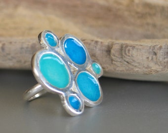 Statement Turquoise Ring, Sterling Silver Ring with organic Turquoise resin circles