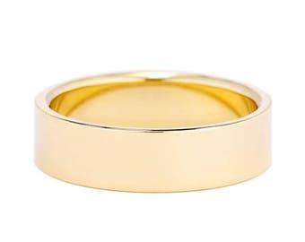 Mens Wedding Ring, Half Round Wedding Band, 6mm 14K Gold Band, 6mm Men's Gold Wedding Ring, Classic Style Wedding Band