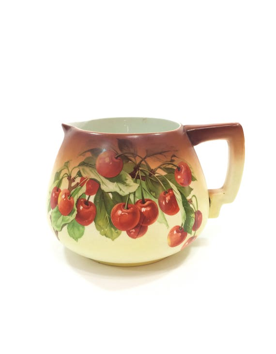 Large Antique Water Cider Pitcher, Lifelike Decal Red Cherries & Green Leaves, Ombre Brown to Cream, 1900s 1920s, Antique Porcelain