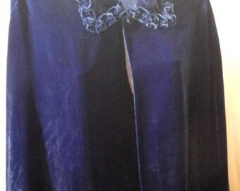 Beautiful Deep Royal Blue Velvet Handmade Cape