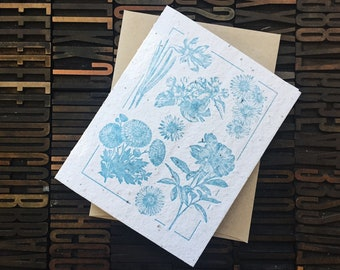 Blue Plantable Greeting Card  / Letterpress Card / Seed Paper / Flower Card / Blank Greeting Card / Plantable Stationery / Mother's Day Card
