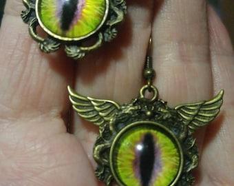 Golden Dragon Eye; Steampunk Inspired Earrings; SP739