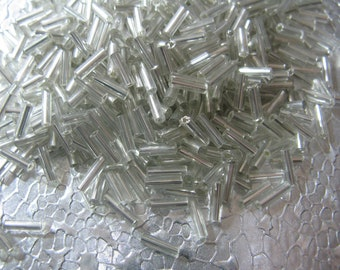 Silver Silver lined Bugle Beads 500 Beads