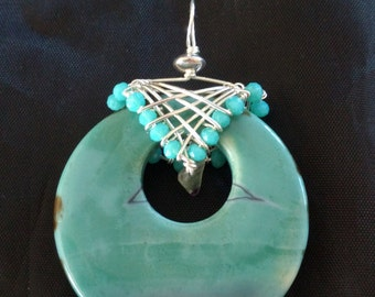 Aqua, mauve, green, jasper, with silver bead, wire wrapped, with green, turquoise.
