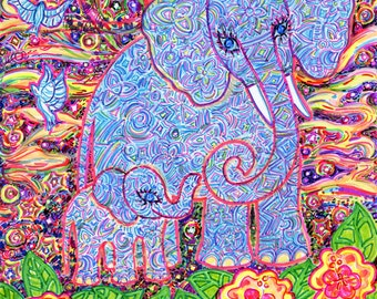 Greeting Card, Elephant Earth Mother, Eco-Friendly, Flowers and Stars, Baby Elephant, Sustainable Printing, Ancient Symbolism, Sacred Animal