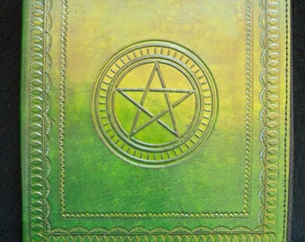 A5 Handmade Leather Ring Binder (US Notebook) - Pagan Wicca PENTACLE
