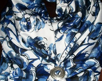 Blue and White Floral Wild Rag