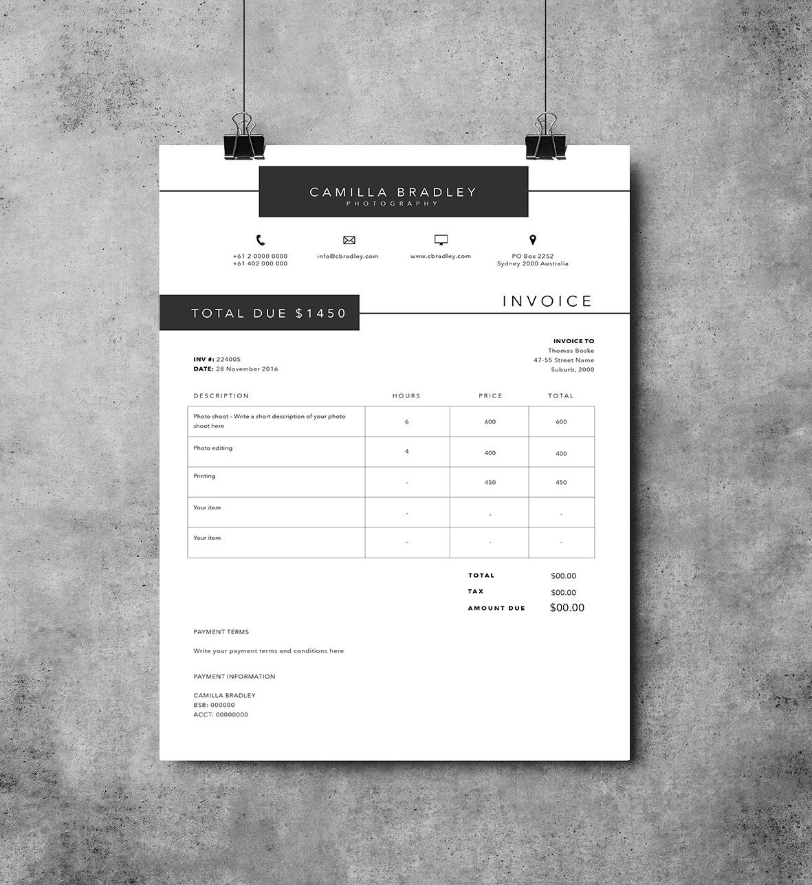 Photography Invoice Template Invoice Design Receipt - Word templates invoice women's clothing online stores