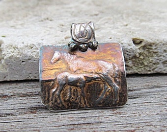 Fine SILVER HORSE pendant necklace of Mare & Foal handcrafted from antique medal into .999 ARTISAN jewelry with floral tooling