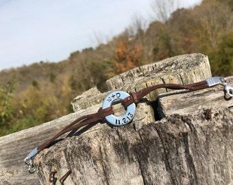 Custom Hand Stamped Leather & Washer Bracelet
