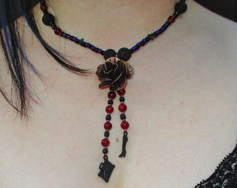 Gothic Victoriana Rose Necklace