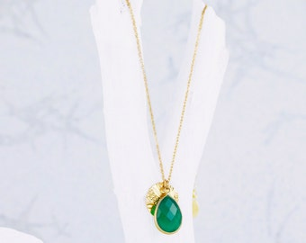 Collier en Onyx vert 14kt or charme, remplis d'or 14kt, Forever or charms, pierres naturelles, Onyx vert, collier vert, collier de charme