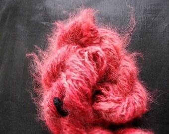 Handspun Yarn 100% Angora Rabbit Hand dyed Cranberry red, D.K. wt