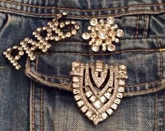 Vintage Rhinestone Pins ... Free Shipping