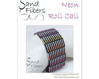 Peyote Pattern - Neon Roll Call Peyote Cuff / Bracelet  - A Sand Fibers For Personal and Commercial Use PDF Pattern