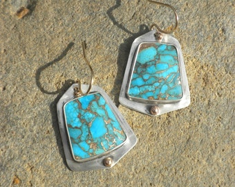 Kingman Turquoise Bronze Infused Earrings, Sterling Silver, Kingman Turquoise, Bronze Infused, Trapeze Cut, Goldfilled Beads and Ear Wires