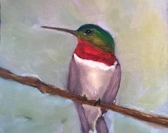 Ruby Throated Hummingbird Original Oil Painting