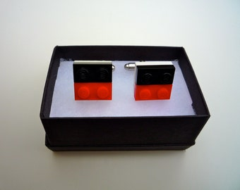 Stripy Cufflinks made from Lego® pieces! Come in a wide variety of colours: You decide!