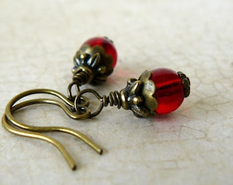 Small Red Beaded Earrings, Tiny Crimson Glass Bead Dangles, Vintage Style Jewelry, Bridesmaid Earrings, Rustic Wedding Party Jewelry