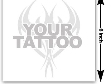 6x6 inch Image or logo as custom temporary tattoo - upload design or photo & we create customized temp fake tattoos - Personalized