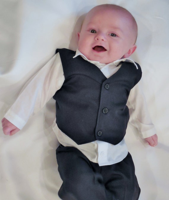 Black or gray Baby or Toddler suit. Perfect ring bearer or