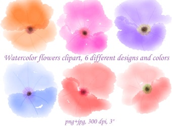 Watercolor flower clipart,  watercolor flowers, hand drawn pink clip art, purple Blog design elements