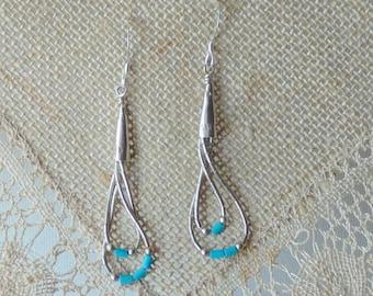 Liquid Silver  Turquoise Earrings, Vintage Sterling Silver Dangle Earrings, Southwestern Jewelry, Native American Earrings, Vintage Dangle