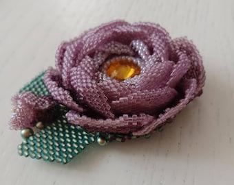 Beaded brooch flower