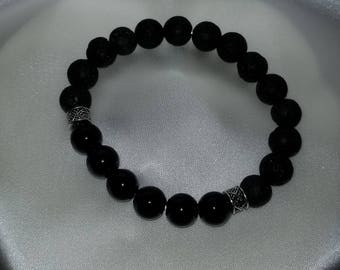 Black Glass Bead Essential Oil Diffuser Bracelet