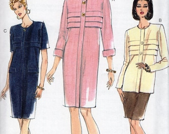 Vogue 9198 Free Us Ship Sewing Pattern Retro 1990s 90's Box Pleat Bodice Dress Top Skirt Size 8 10 12 Bust 31.5 32.5 34 Uncut Out of Print