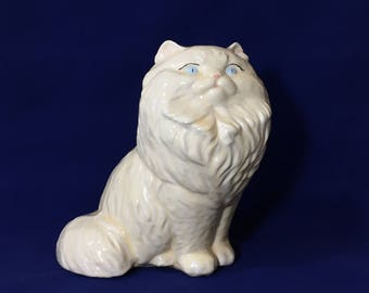 Vintage White Glazed Ceramic Blue Eyed Persian Cat Statue