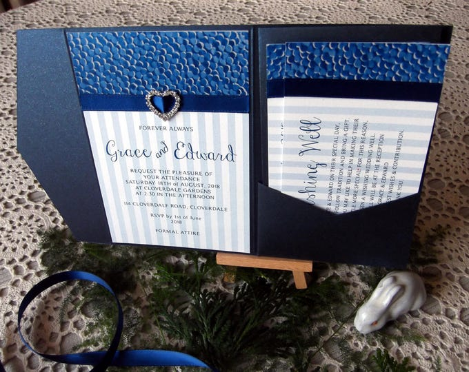 Royal Blue Formal Wedding Invitation Package, Pocket Folds, RSVP, Wishing Wells, Envelopes. Invitation Suite / Set #WeddingInvites