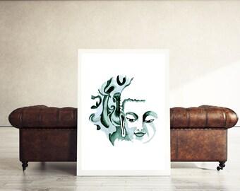 Buddha print, zen decor, buddha wall art, zen art