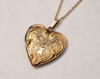 Vintage Rosy 10K Yellow Gold Filled Locket | Heart | Real Photos | Love | 1930's - 1940's - Necklace