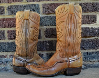Vintage Sanders Tan Leather Wing Tip Cowboy Western Boots Size 6 Womens