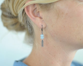 Aquamarine and Oxidized Silver Dangle Earrings, Statement